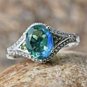 Peacock Quartz/Russian Diopside/White Zircon Ring
